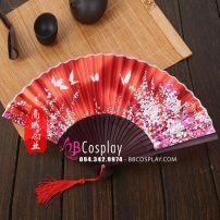 Quạt Vải Nhật Bản Hoa Và Bướm