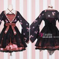 Waloli Lolita Hoa Đào Áo Đỏ Đô