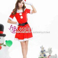 Đầm Đỏ Mặc Noel Tặng Bao Tay