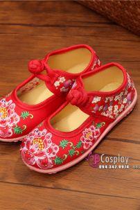 Hài Vải Trẻ Em Đỏ Thêu Hoa Size 31
